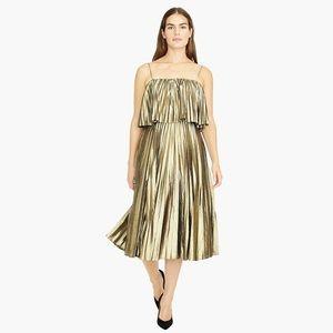 J. Crew Gold Pleated Dress - NWOT